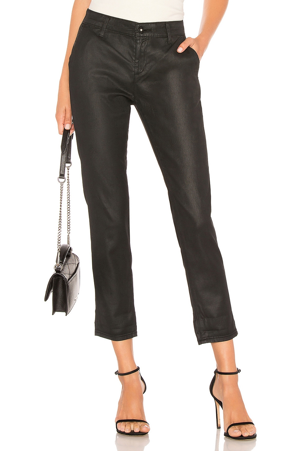 AG Adriano Goldschmied Caden Leatherette Pant in Leatherette Lt Super Black
