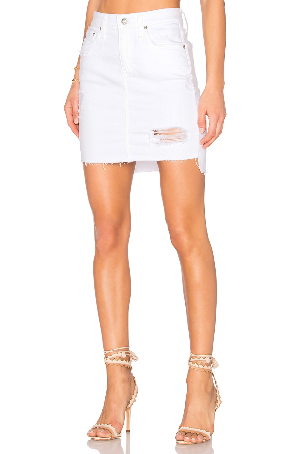 AG Adriano Goldschmied Erin Denim Skirt in White Intuition