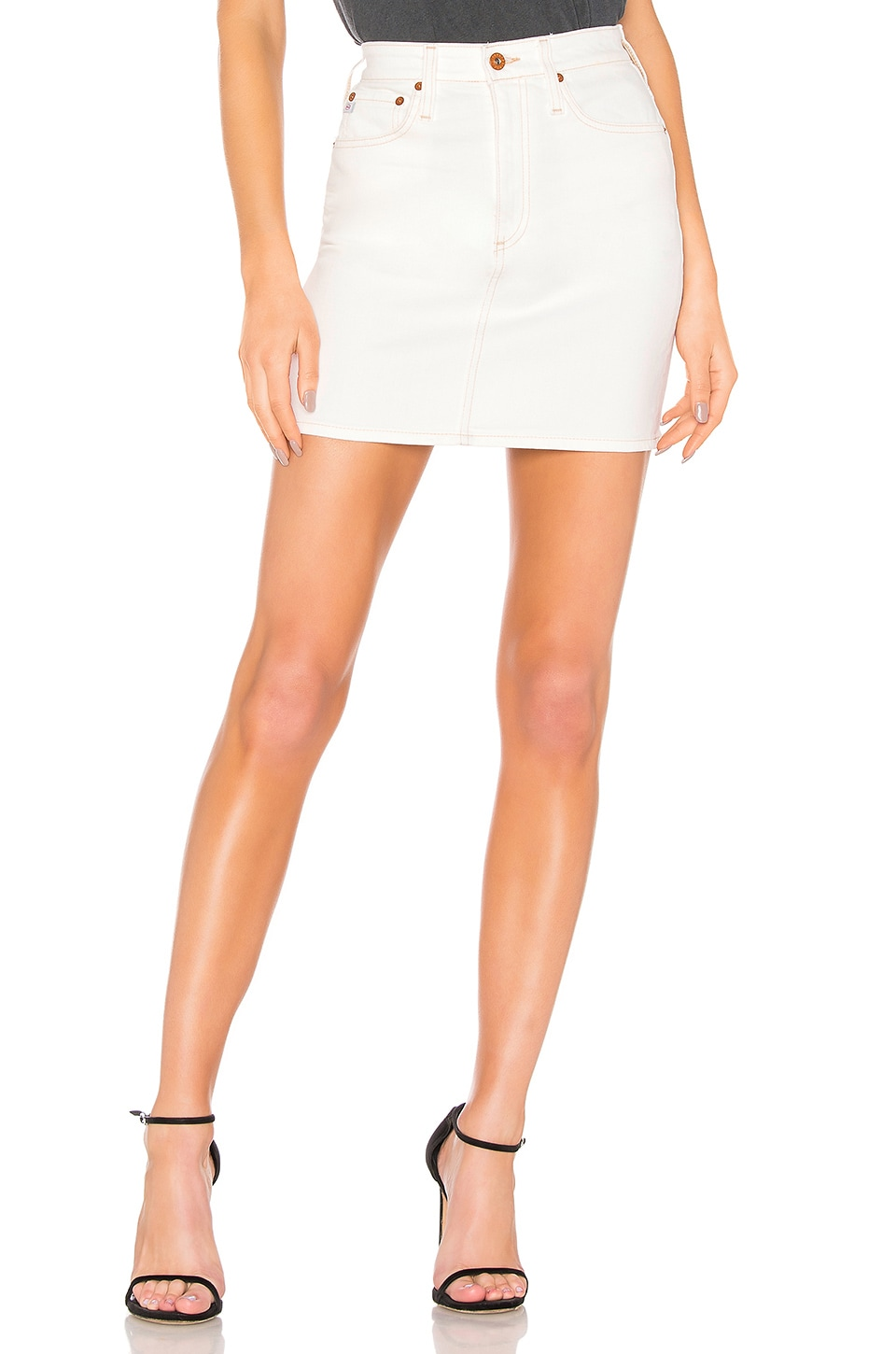 AG Adriano Goldschmied Vera Skirt in 1 Year Bare White
