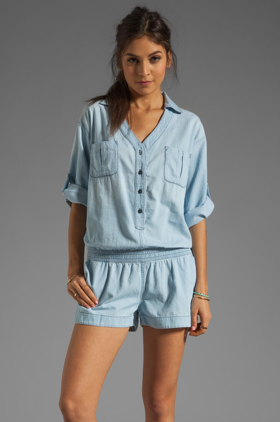 AG Adriano Goldschmied Chambray Romper in Cove