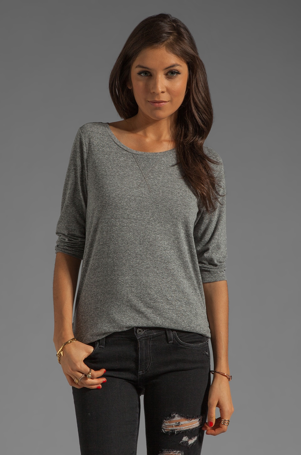 AG Adriano Goldschmied 3/4 Sleeve Scoop Neck in Light Heather Grey