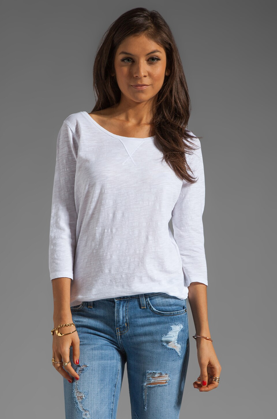 AG Adriano Goldschmied 3/4 Sleeve Scoop Neck in White