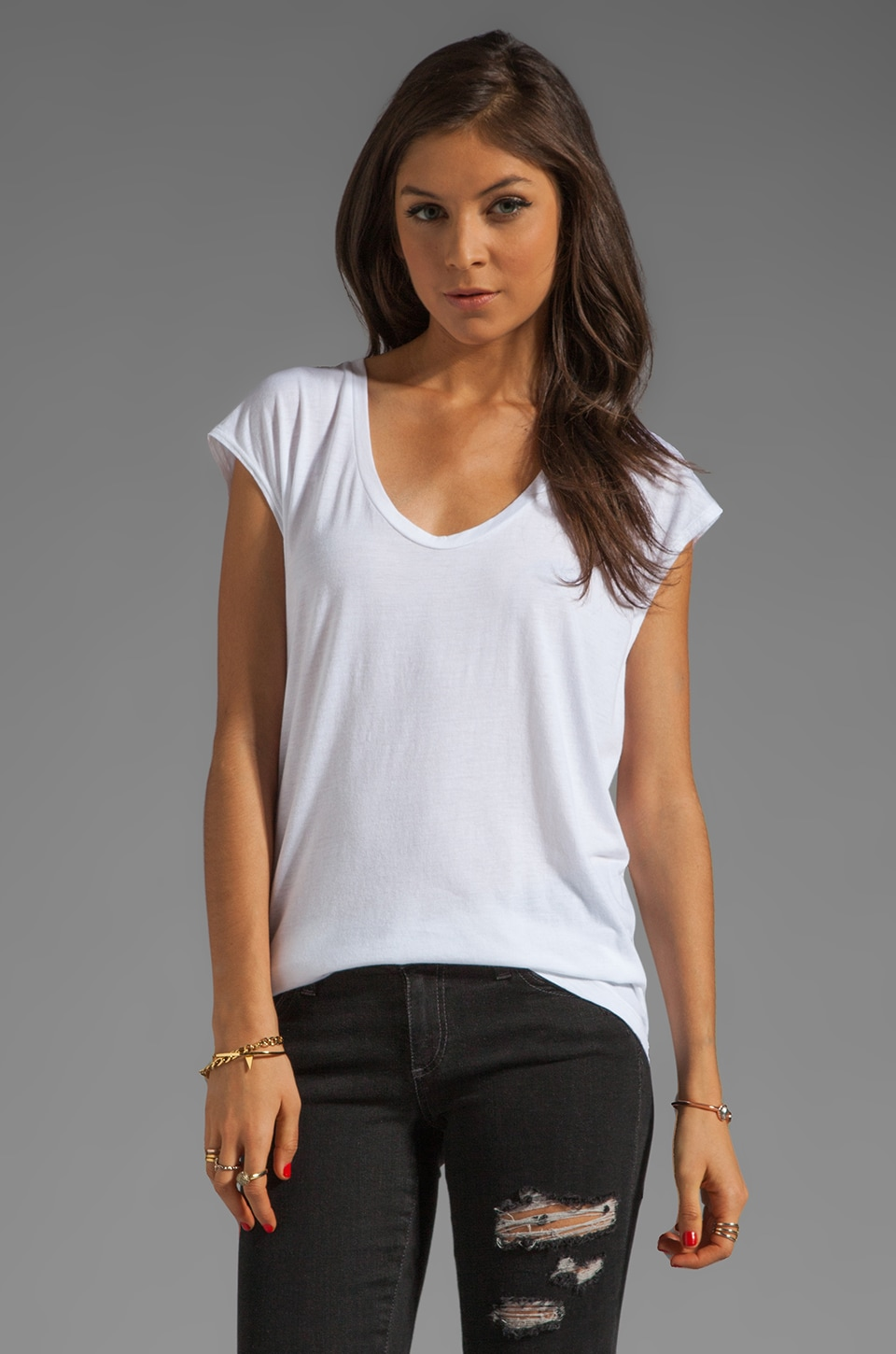 AG Adriano Goldschmied Sleeveless Scoop Tee in White