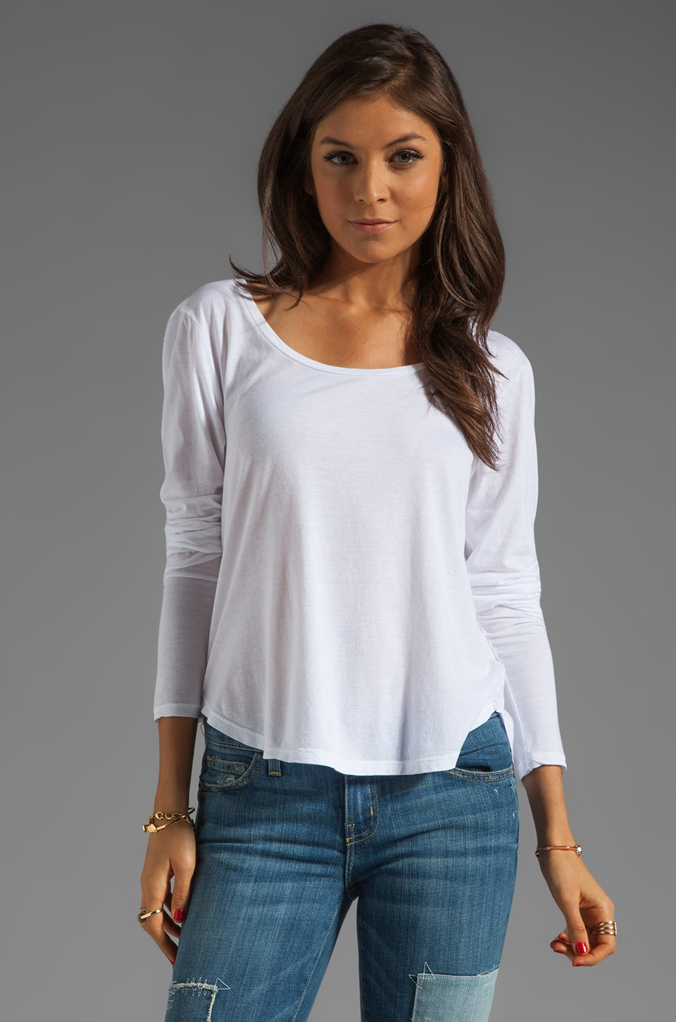AG Adriano Goldschmied Long Sleeve Scoop Tee in White