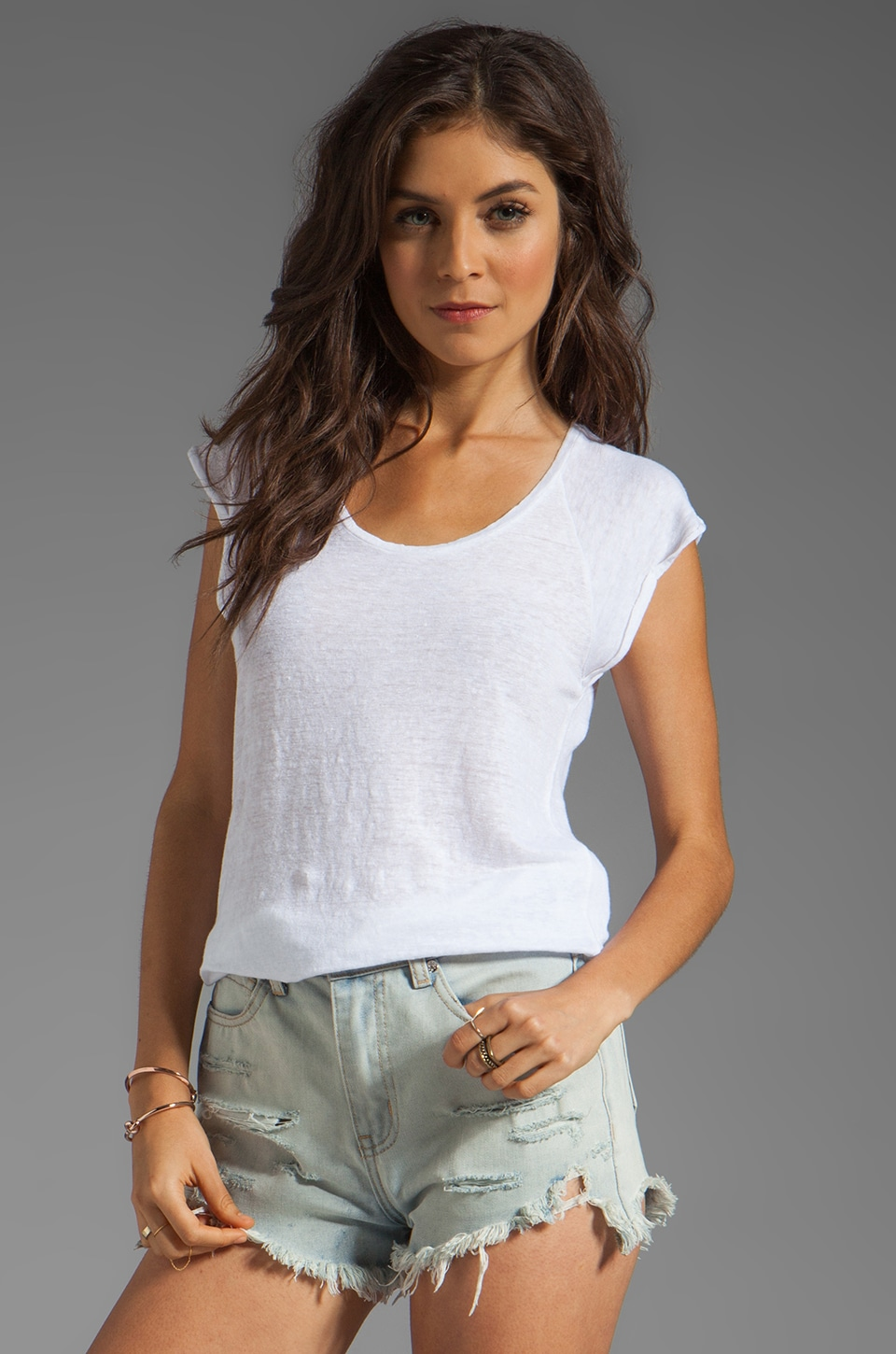 AG Adriano Goldschmied Linen Jersey Hi-Low Muscle Tee in White
