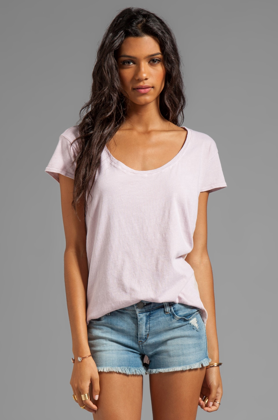 AG Adriano Goldschmied Jersey Relaxed Tee in Rose Pink