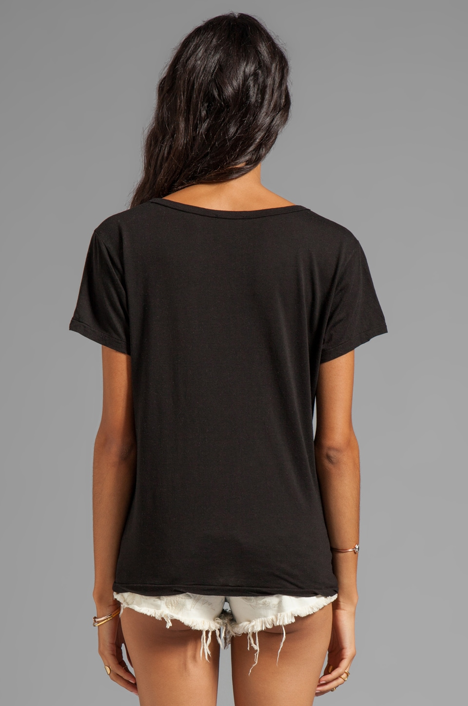 AG Adriano Goldschmied V-Neck Pocket Tee in Black