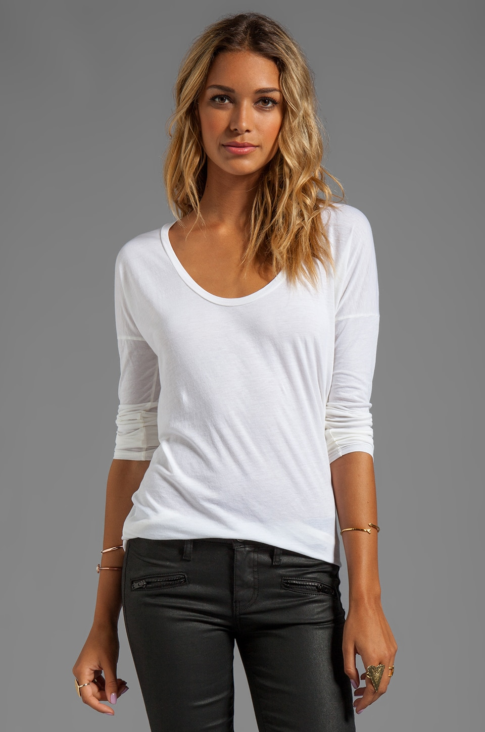 AG Adriano Goldschmied T-shirt Scoop en Blanc