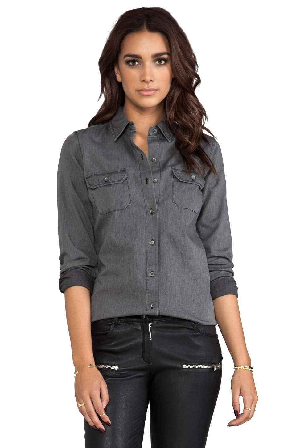 AG Adriano Goldschmied Dakota Chambray Shirt in Ash