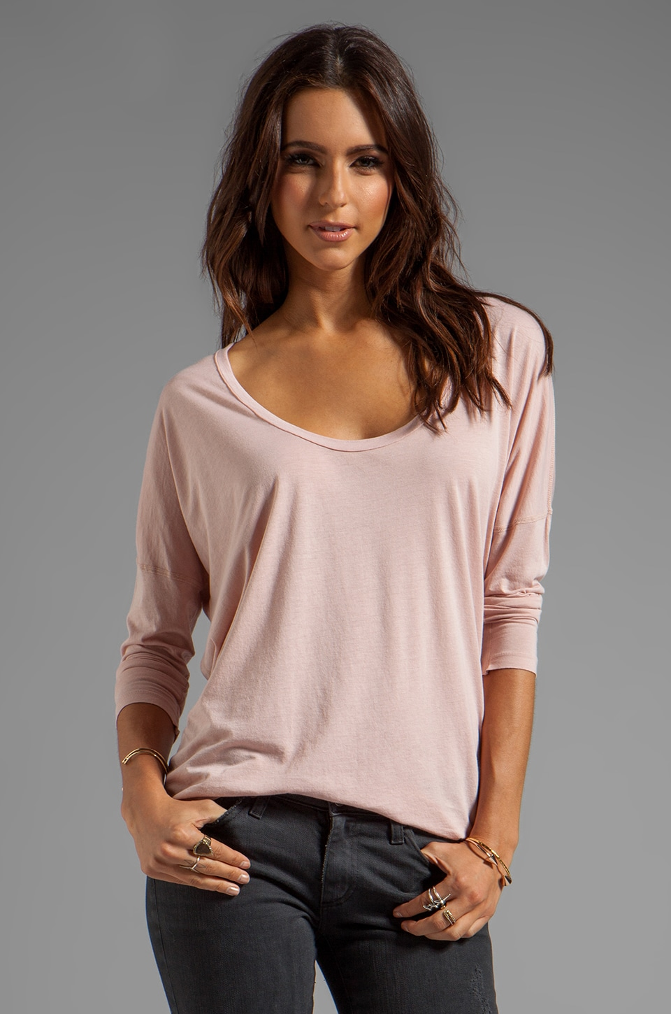 AG Adriano Goldschmied Boxy Scoop Tee in Naked