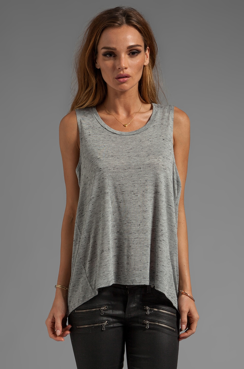 AG Adriano Goldschmied Hi-Lo Tank in Heather Grey