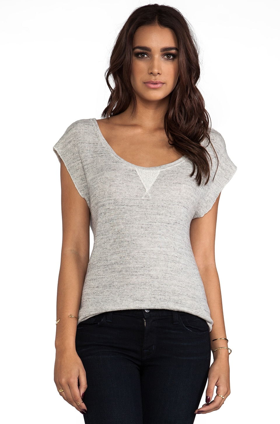 AG Adriano Goldschmied Terry Ballet Sweat Top in Heather Grey