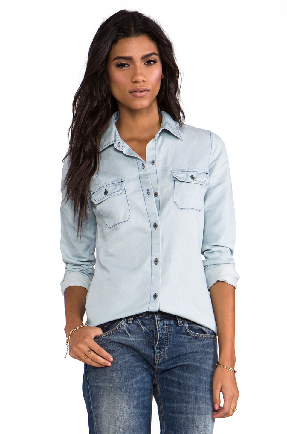 AG Adriano Goldschmied Dakota Chambray Shirt in Light Wash