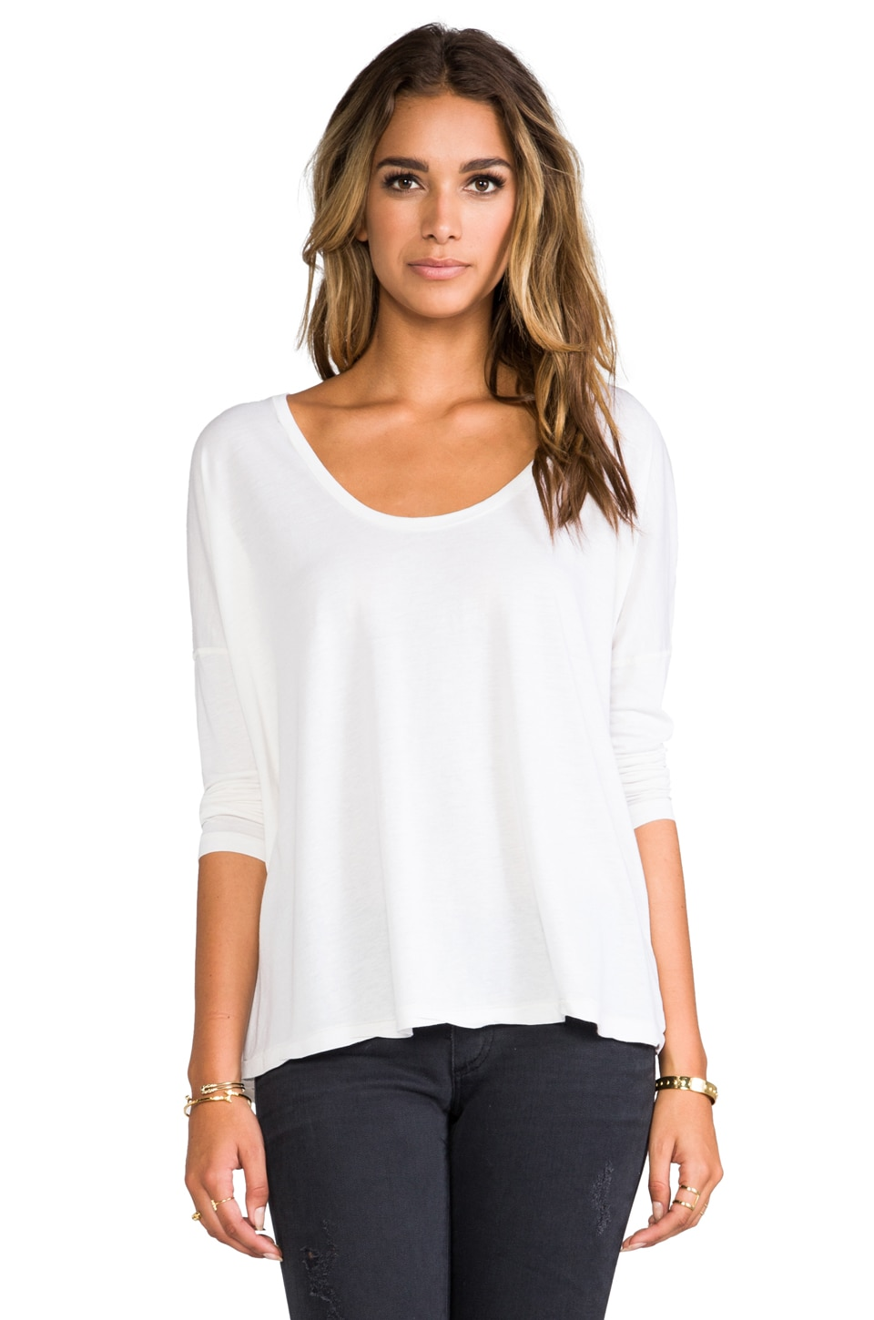 AG Adriano Goldschmied Boxy Scoop Tee in White