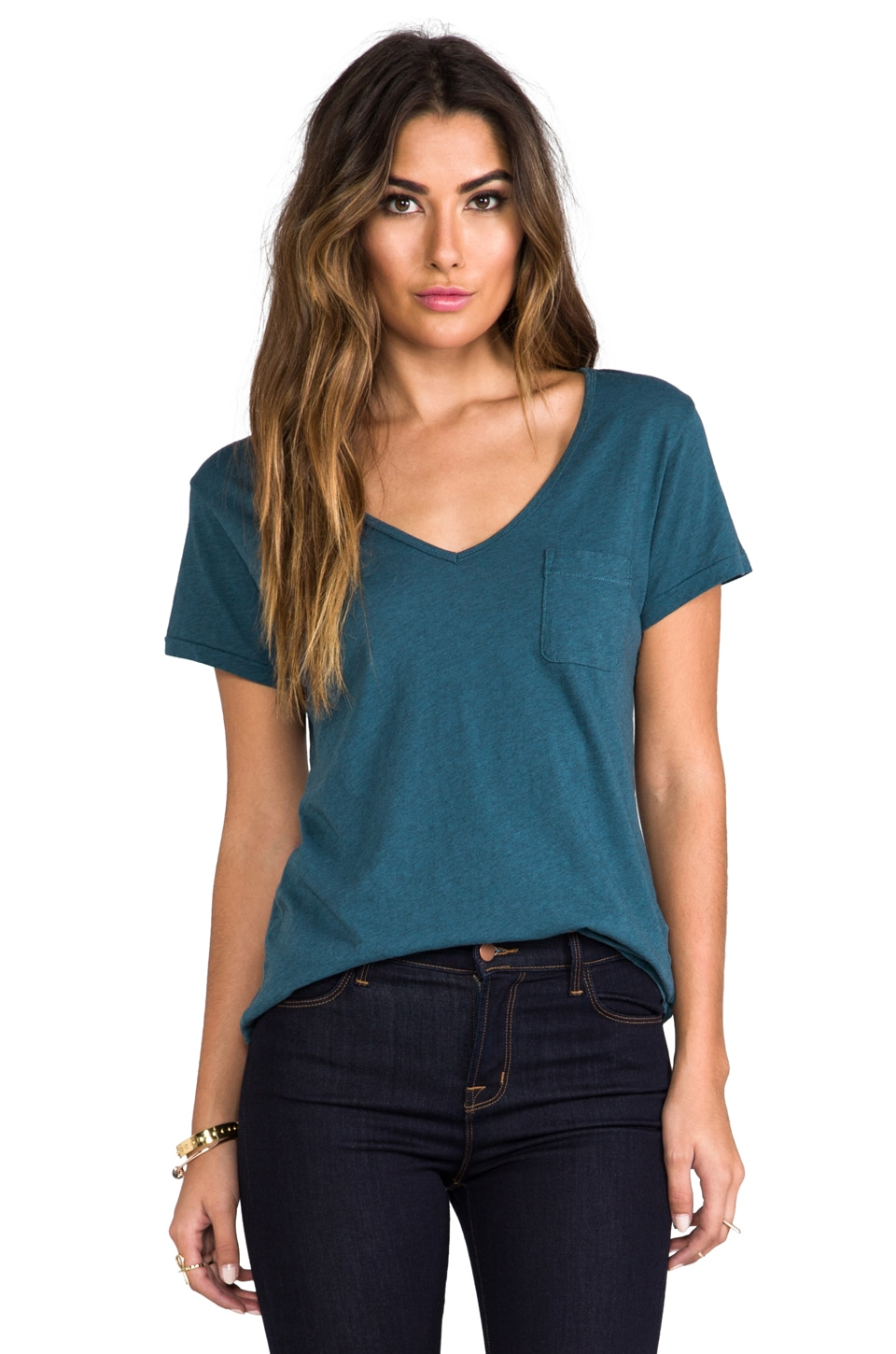 AG Adriano Goldschmied V-Neck Pocket Tee in Heather Juniper