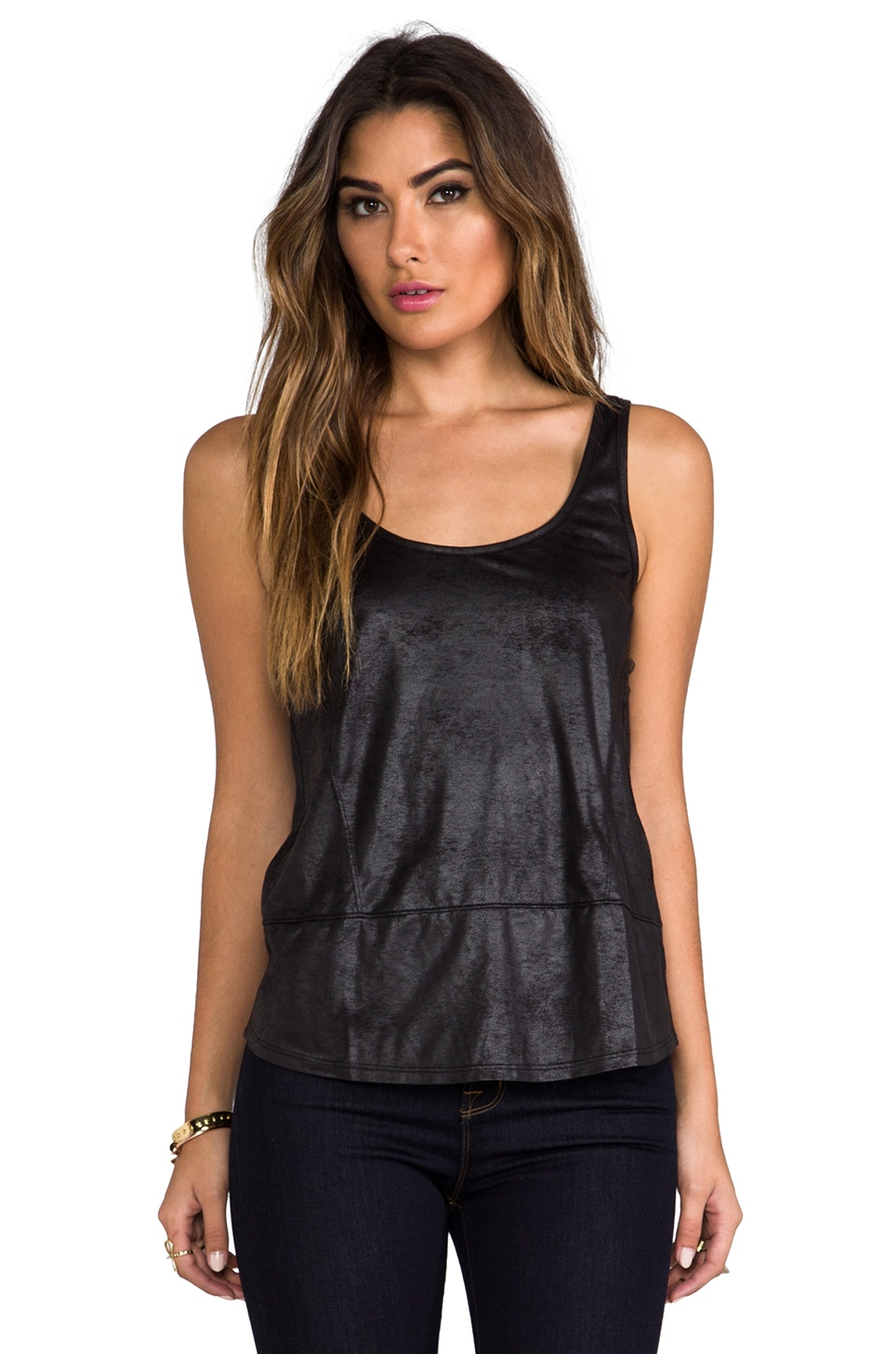 AG Adriano Goldschmied Shirttail Tank in Black