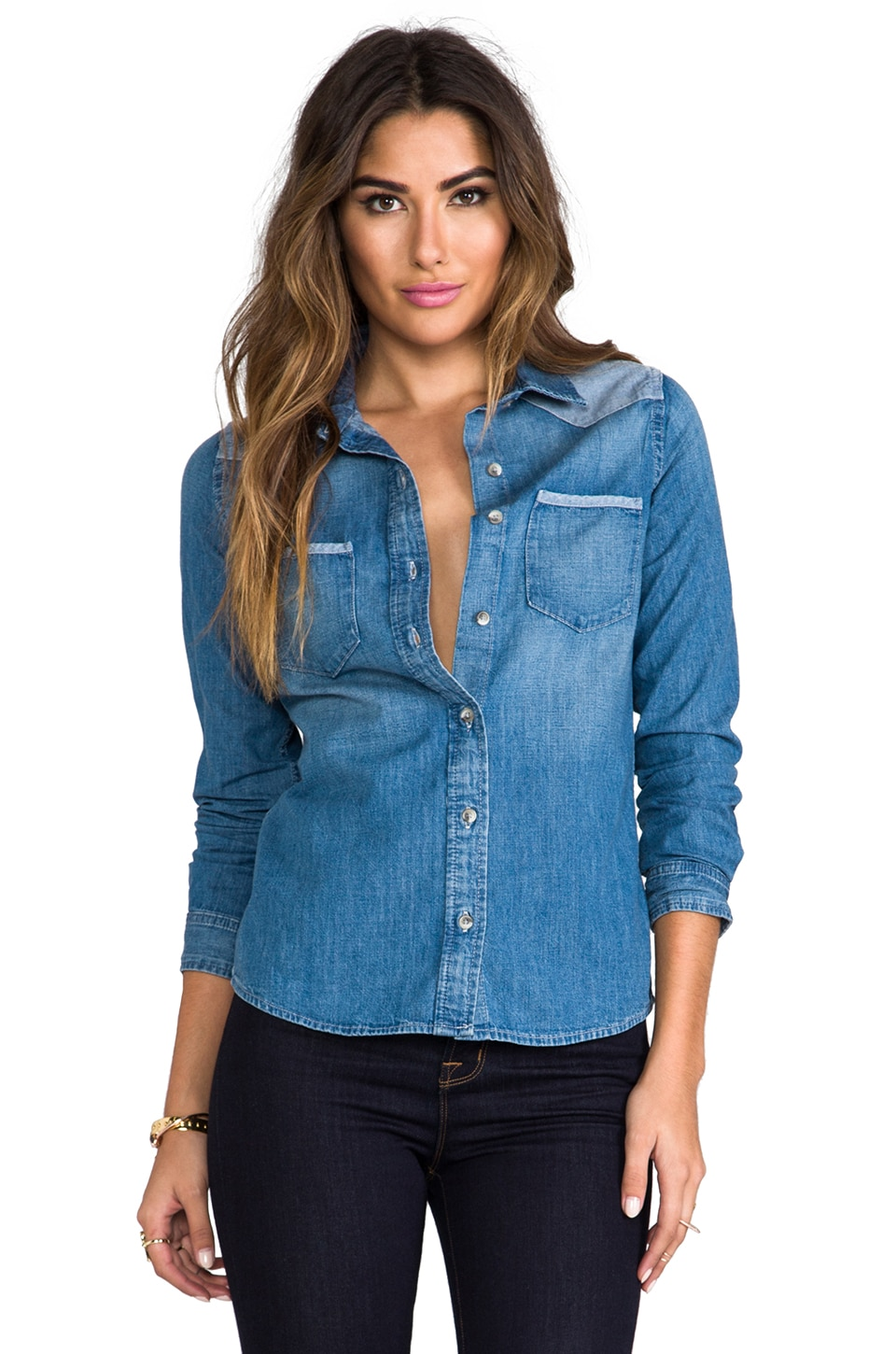 AG Adriano Goldschmied Wesley Denim Chambray Shirt in Tahoe