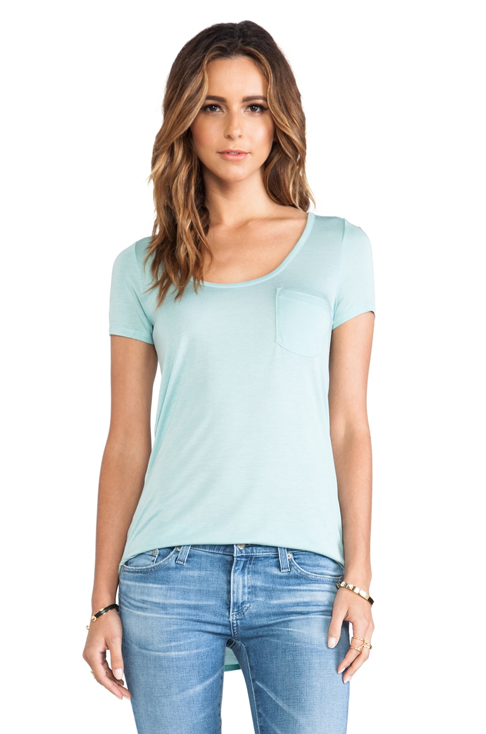 AG Adriano Goldschmied Wren Pocket Tee in Seascape Blue