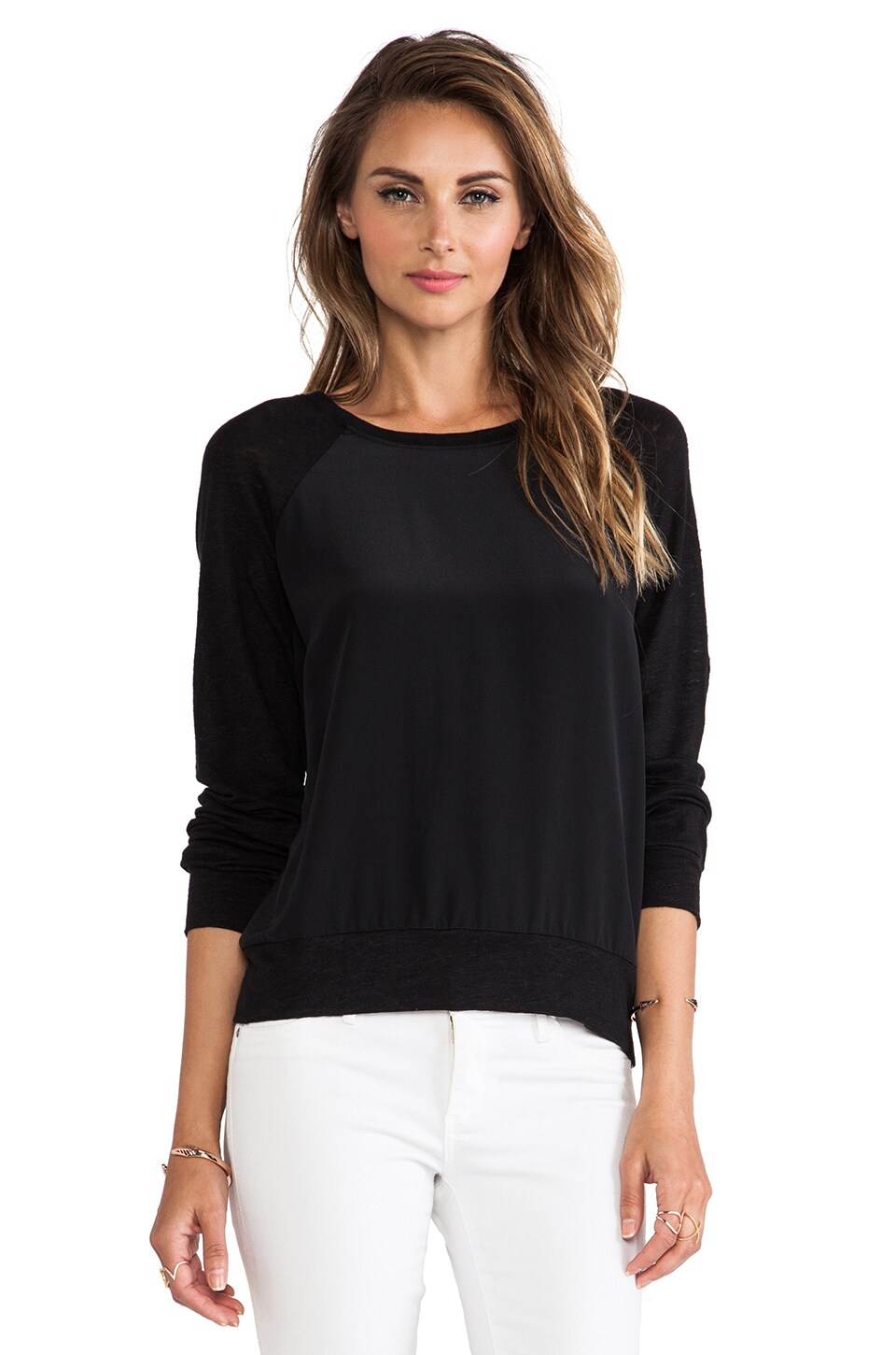 AG Adriano Goldschmied Long Sleeve Swirl Crew in True Black