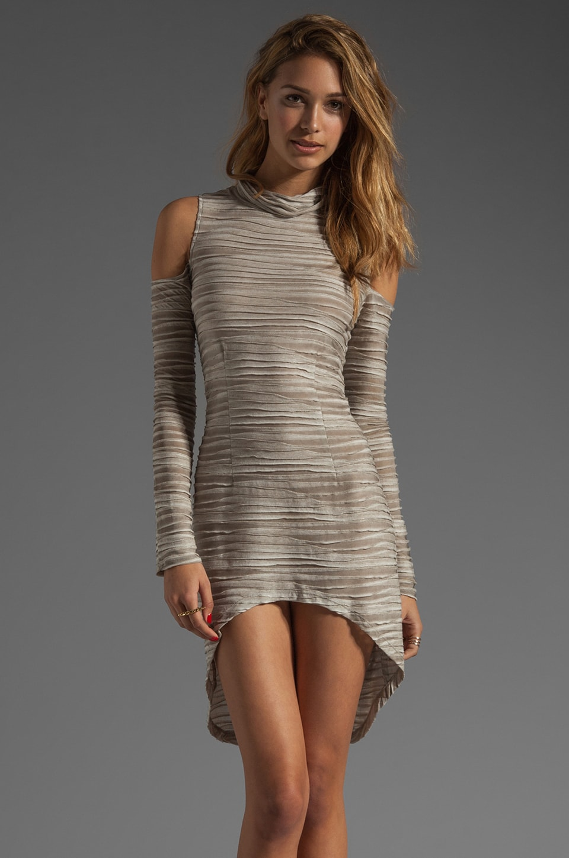 AGAIN Scandal Cutout Asymmetrical Dress in Waved Grey