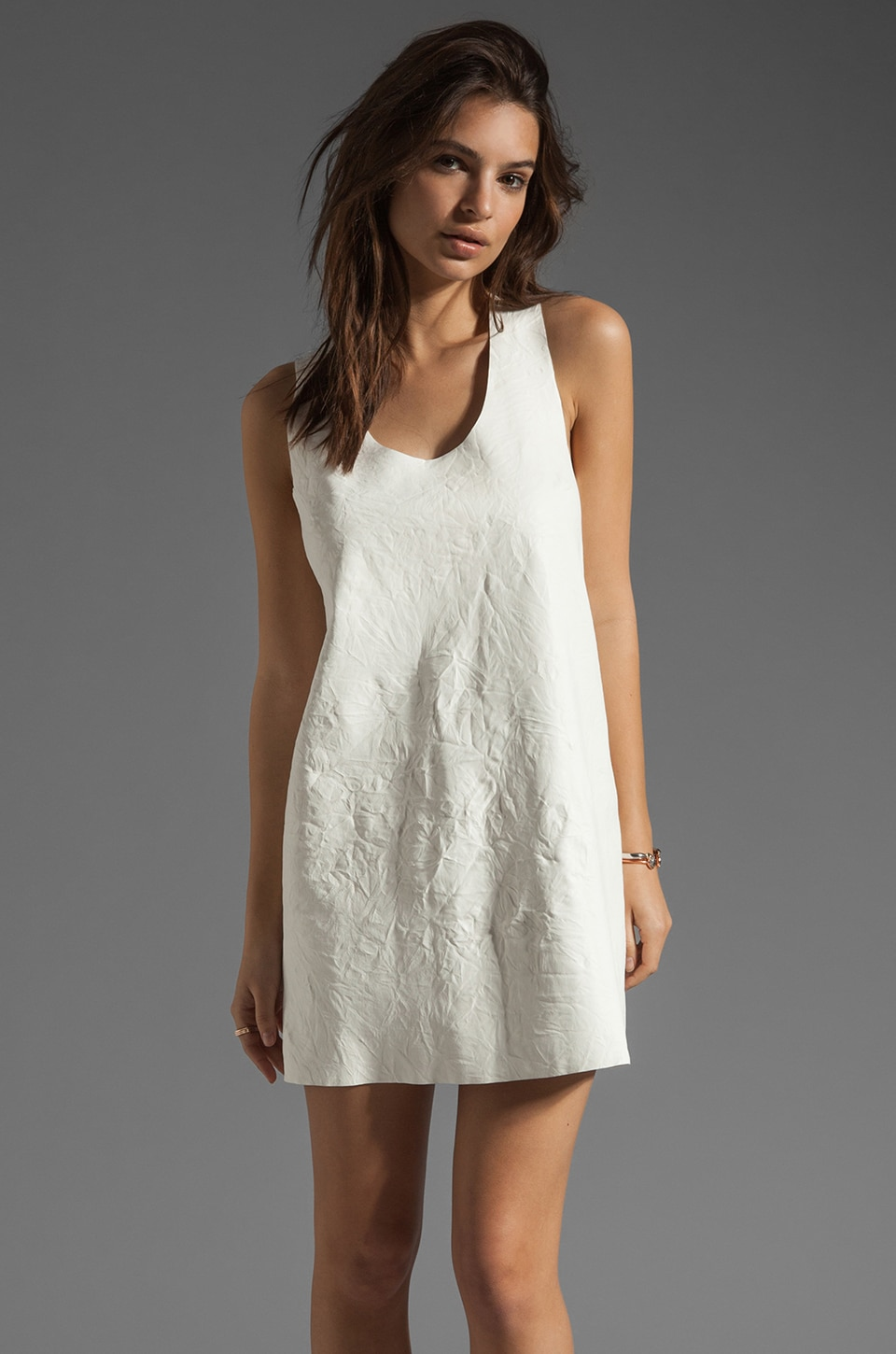 AGAIN Afterword Racer Back Lambskin Leather Dress in Crinkle White
