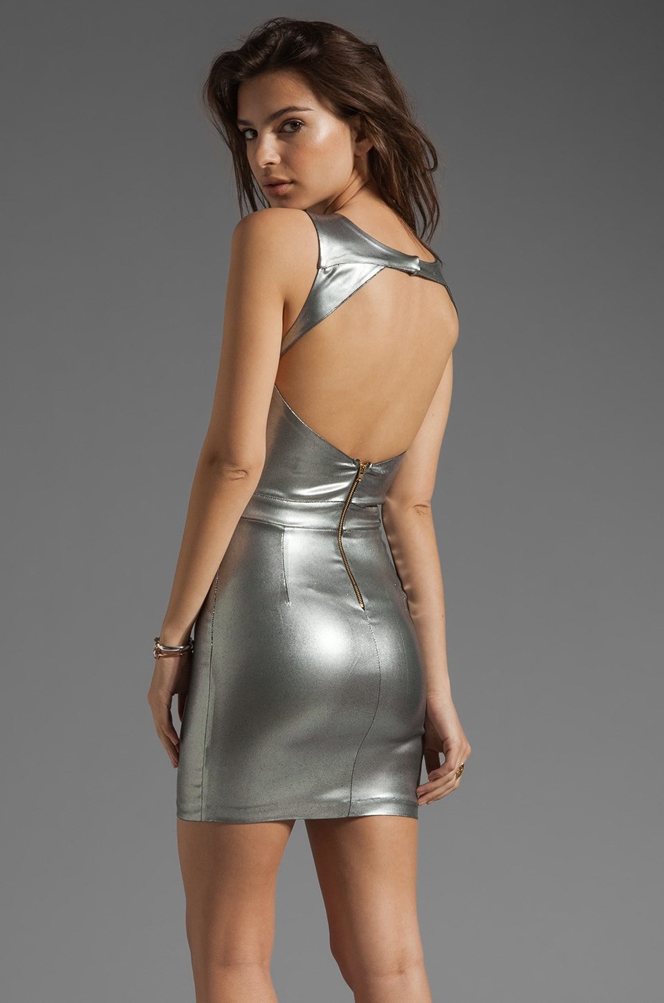 AGAIN Ashby Super Stretch Backless Mini Dress in Metallic Silver