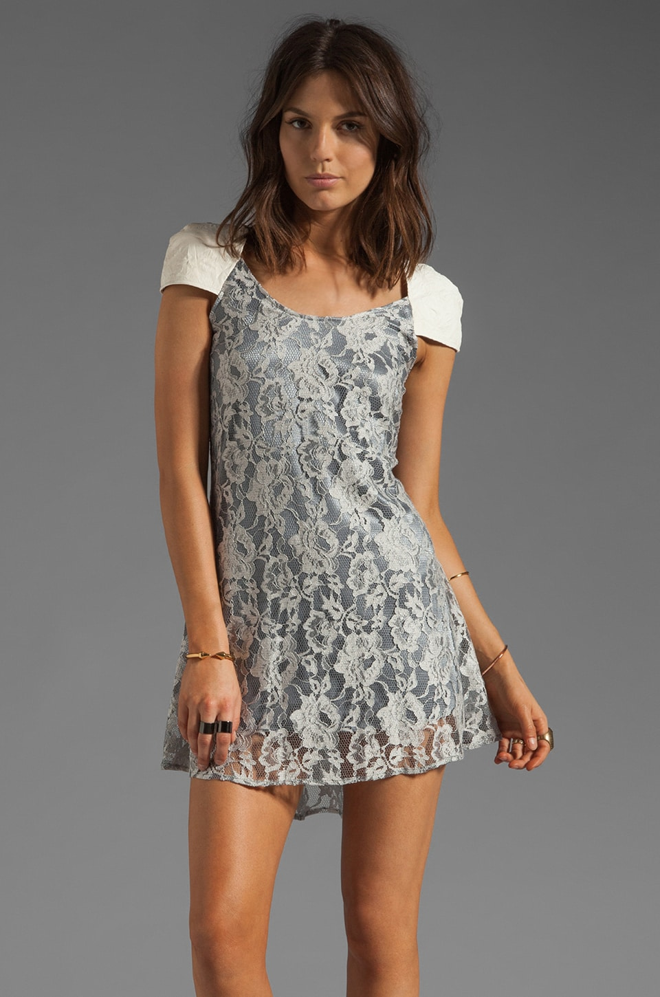 AGAIN Bouvier Lambskin Leather Detailed Lace Dress in White Lavender