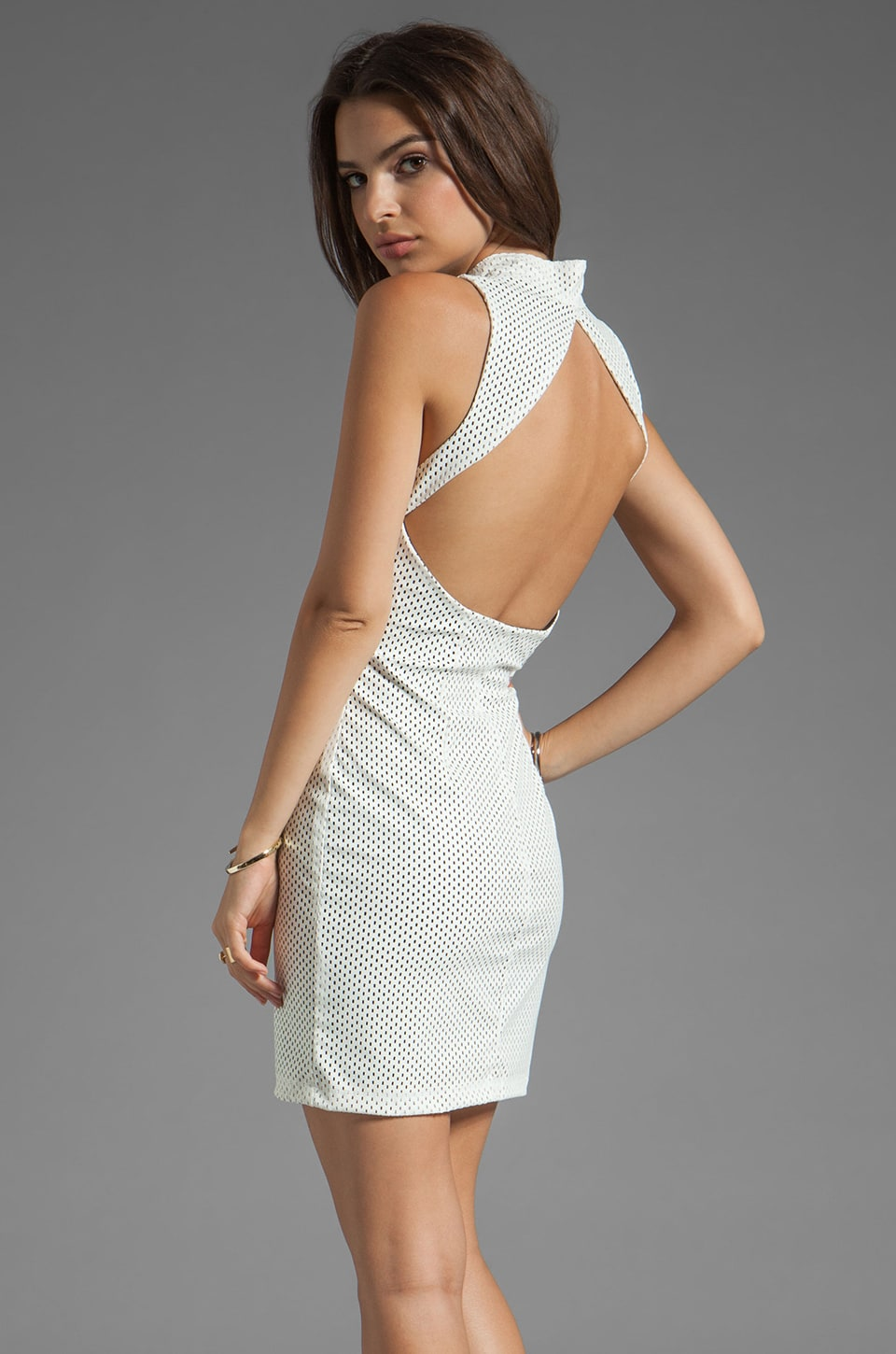AGAIN Kennedy Stretch Backless Dress in Mesh White