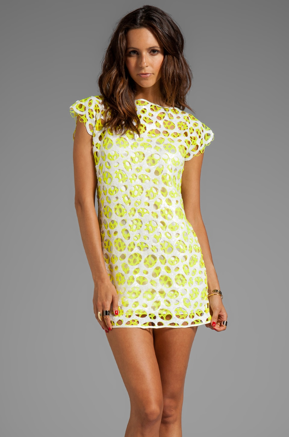 AGAIN Muffie Sequin Dress with Silk Slip in Vain Yellow