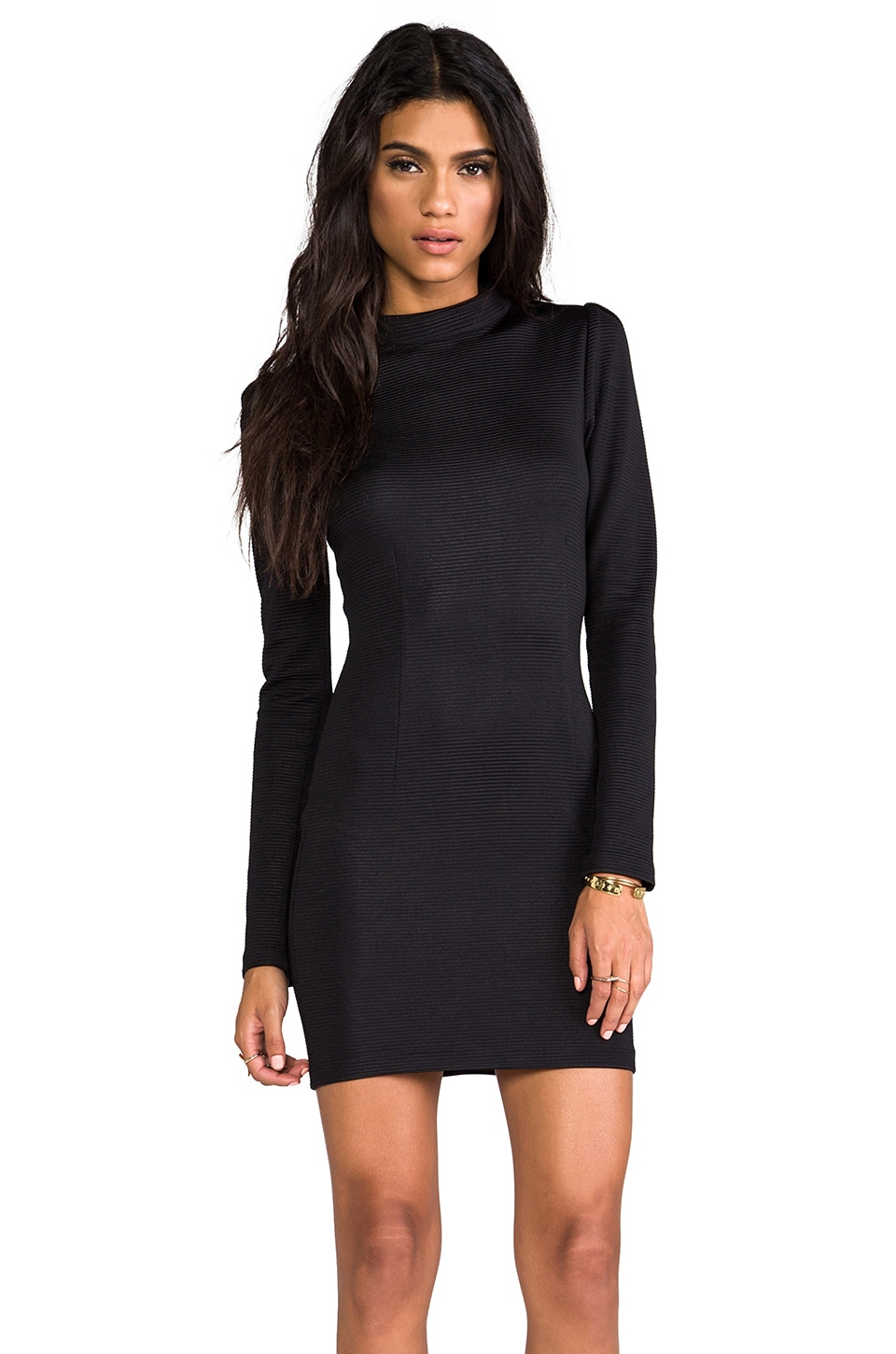 AGAIN Langston Long Collar Dress in Slick Black