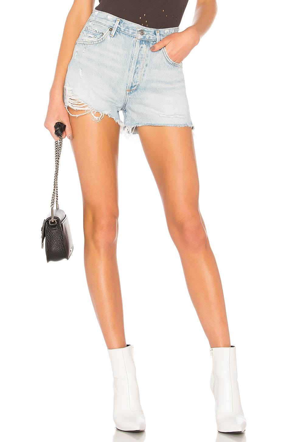 AGOLDE Jaden High Rise Shorts en Broken