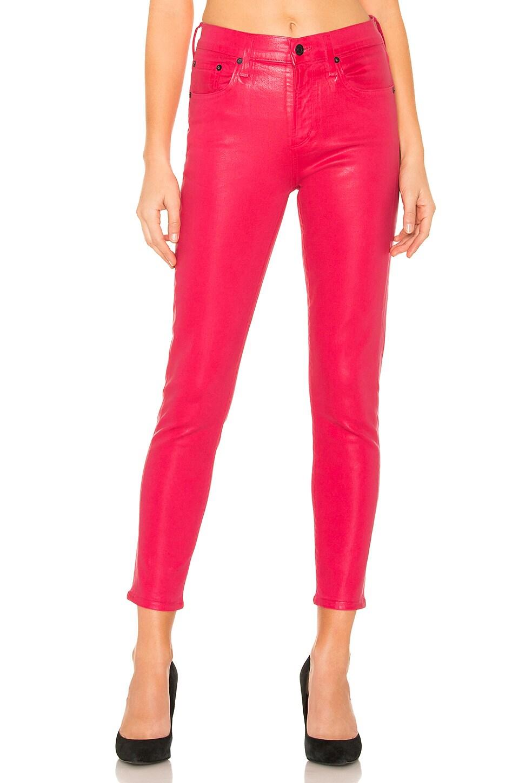 AGOLDE Sophie Hi Rise Skinny Crop en Flamingo Leatherette