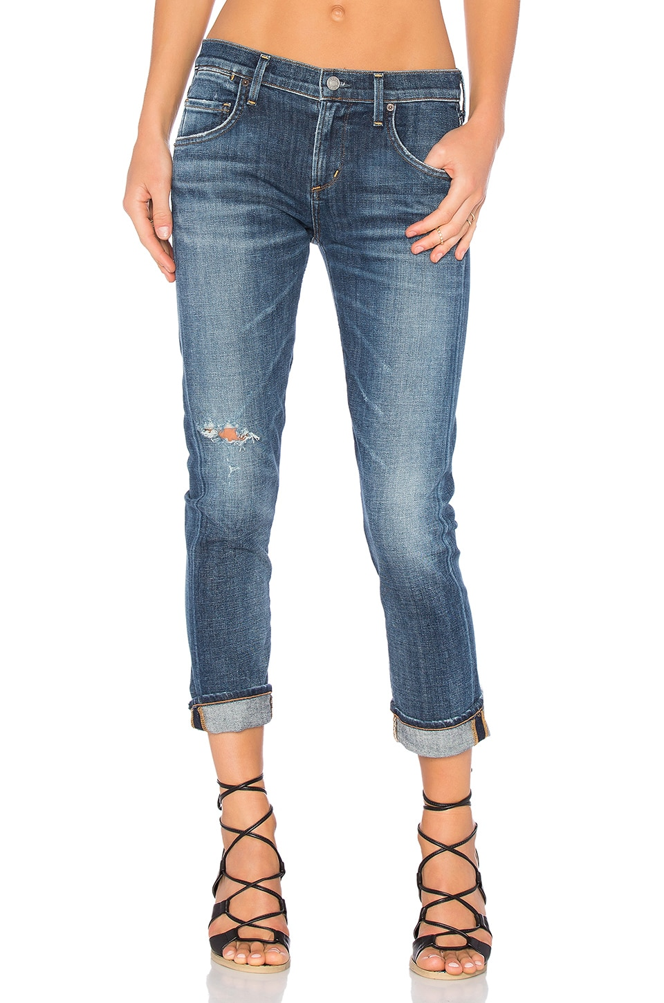 AGOLDE Isabel Slim Boyfriend Ankle in Starwood Distressed