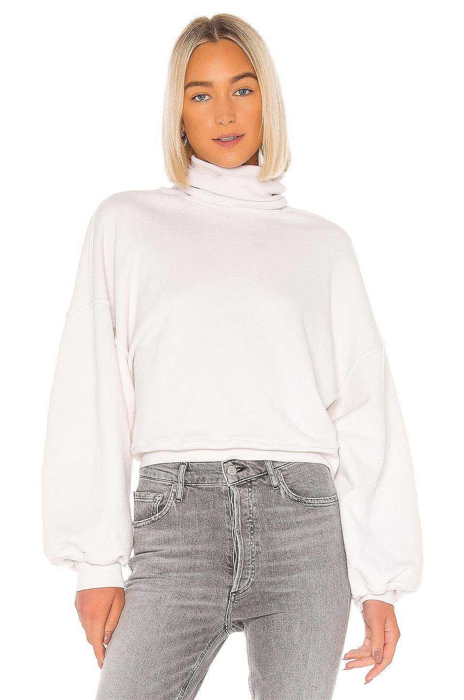 AGOLDE Balloon Sleeve Turtleneck Sweatshirt in Plaster
