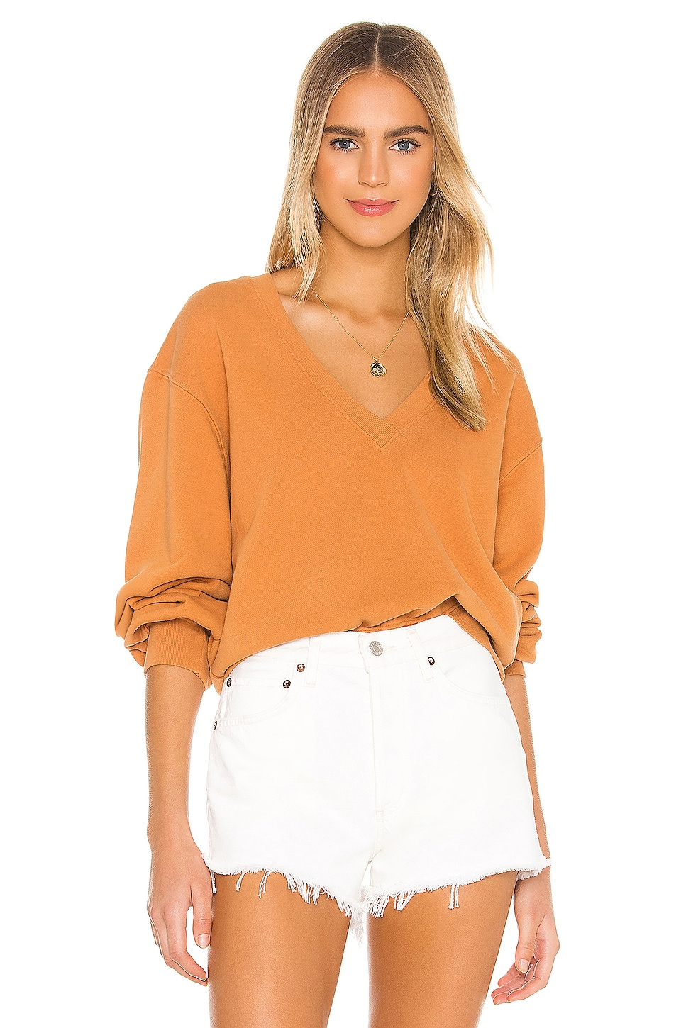 V Neck Balloon Sleeve Sweatshirt             AGOLDE                                                                                                       CA$ 193.79 9