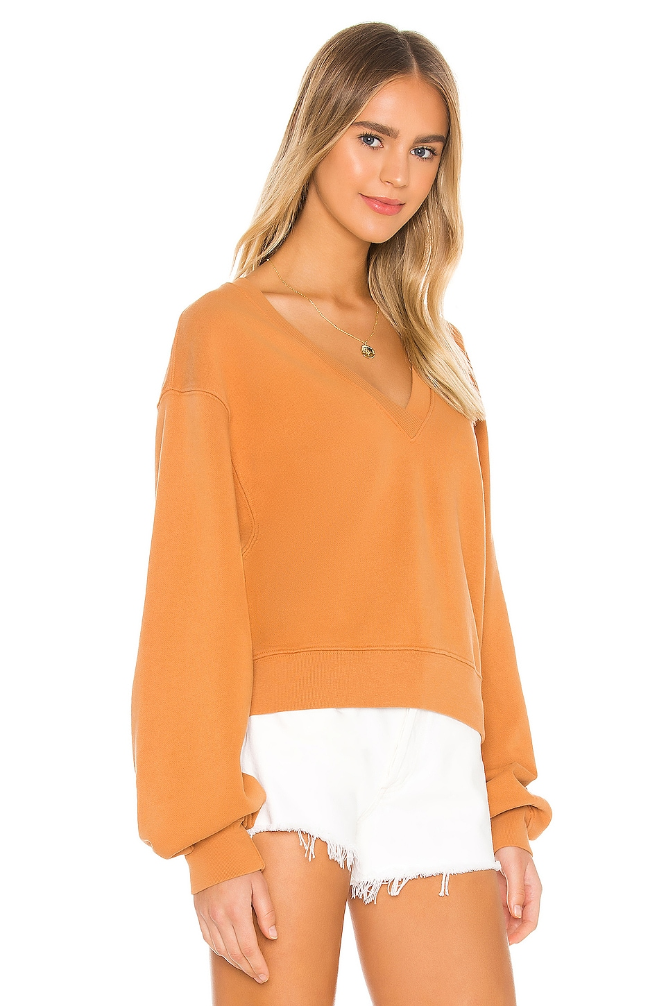V Neck Balloon Sleeve Sweatshirt, view 2, click to view large image.