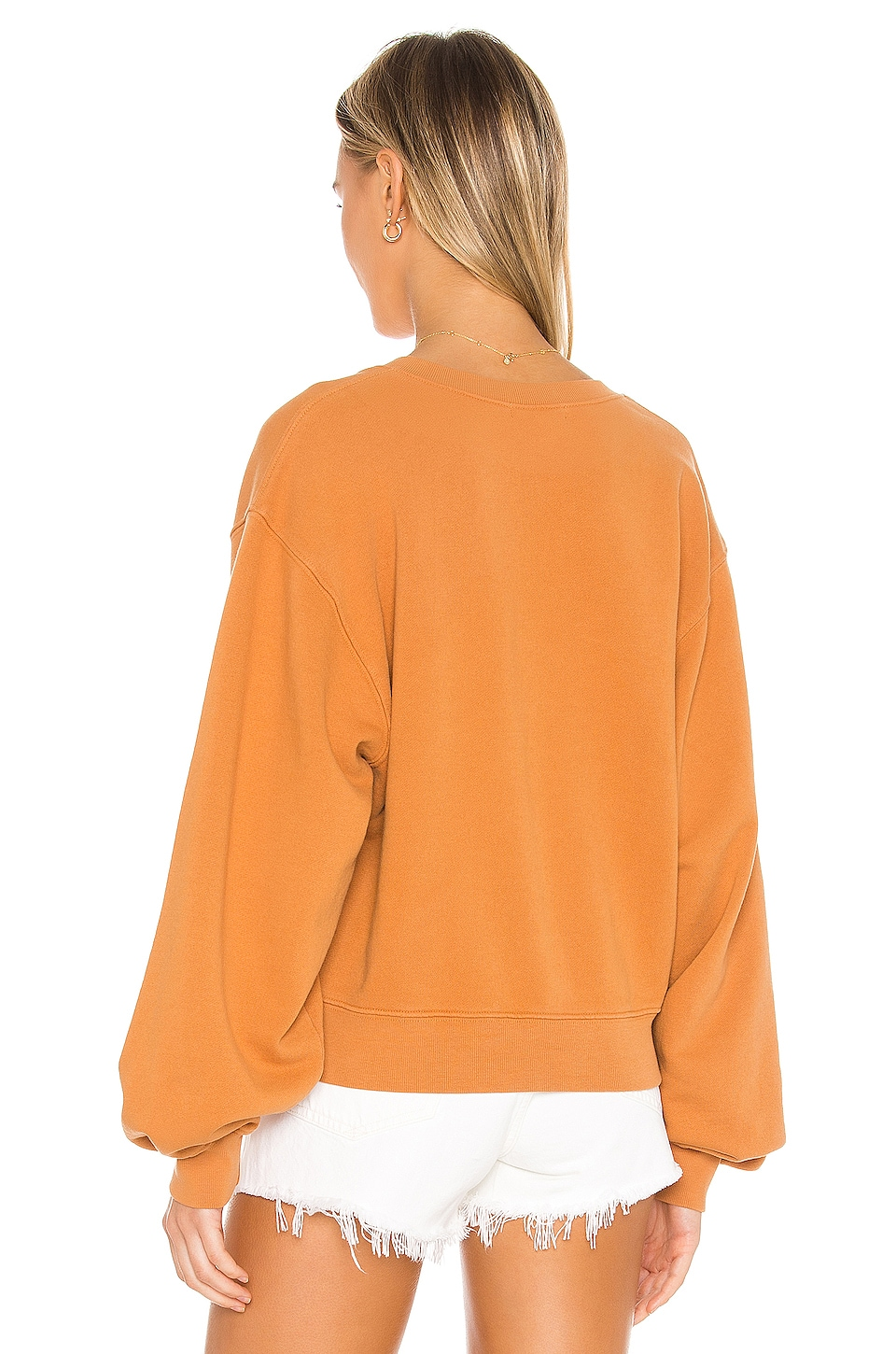 V Neck Balloon Sleeve Sweatshirt, view 3, click to view large image.