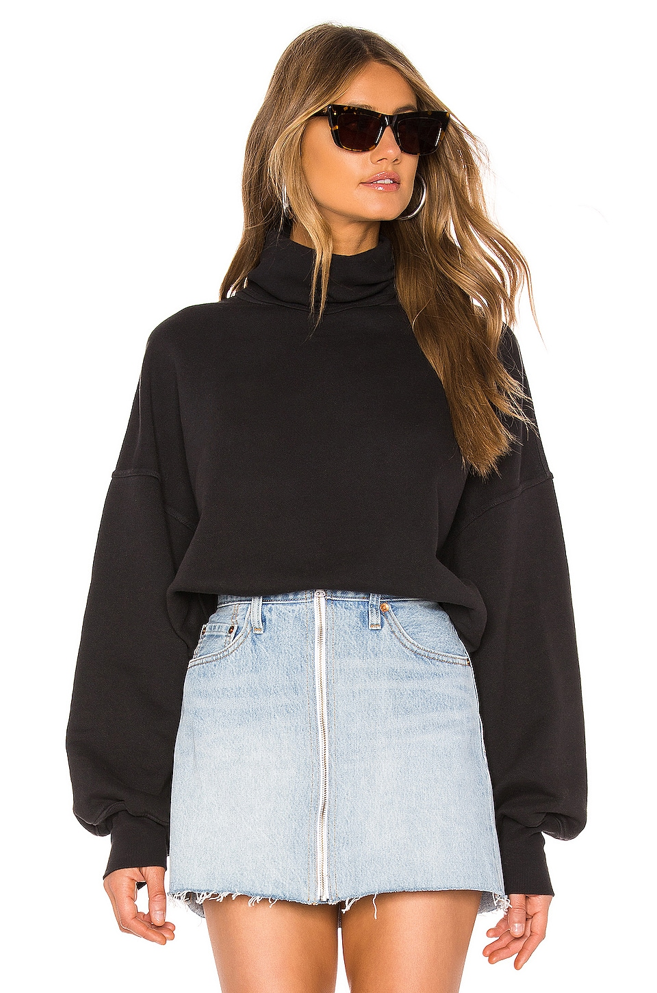 AGOLDE X REVOLVE Balloon Sleeve Turtleneck Sweatshirt in Black