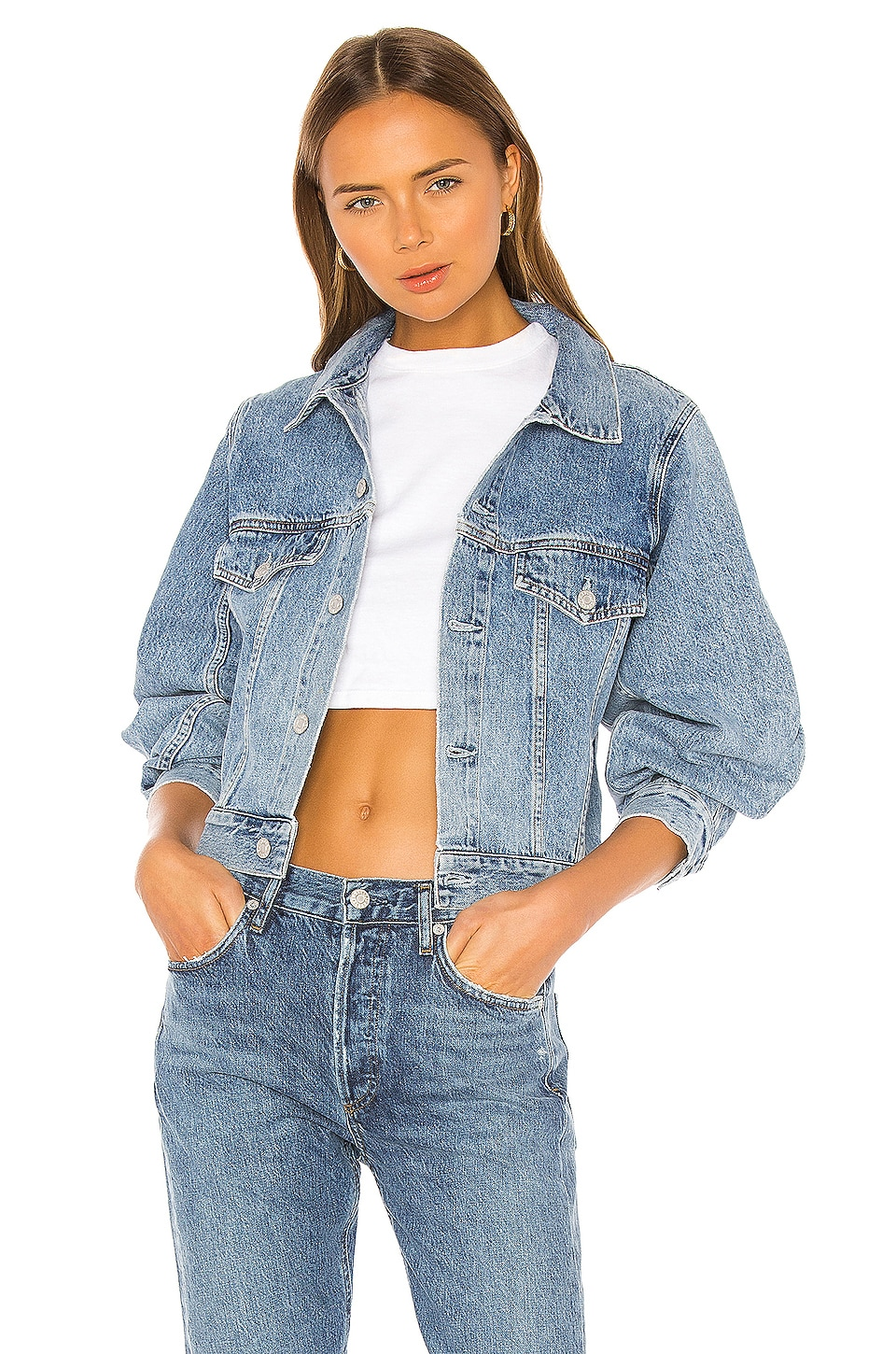AGOLDE Alik Balloon Sleeve Denim Jacket in Hypnosis