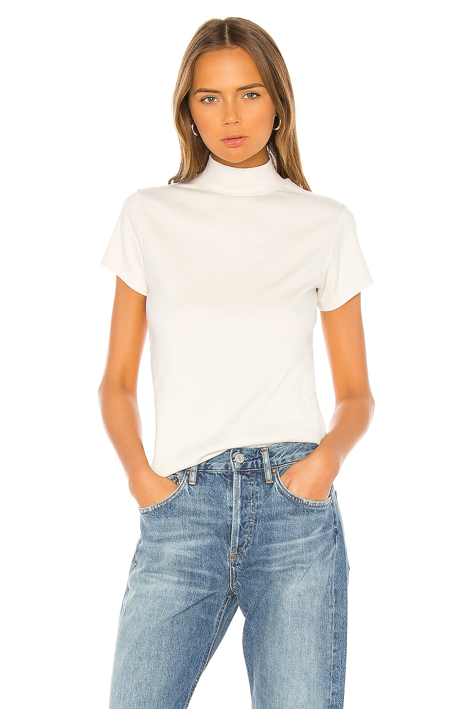 AGOLDE Mock Neck Tee in Plaster