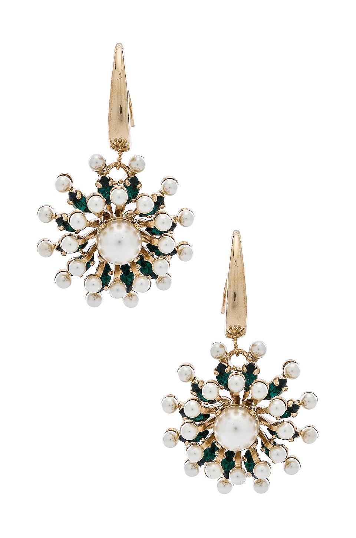 Anton Heunis Sputnik Flower Dangly Earrings in Emerald