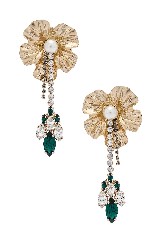 Anton Heunis Dangly Flower With Pendant Earrings in Emerald