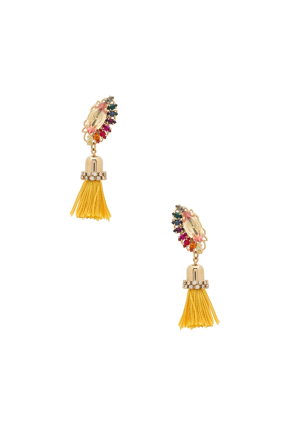 Crystal Cluster Drop Tassel Earring by Anton Heunis