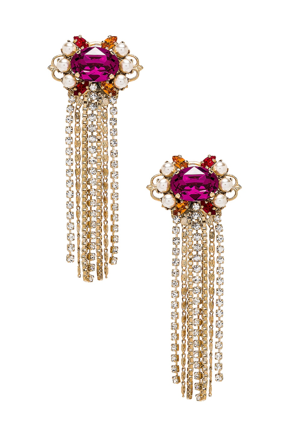 Anton Heunis Cascade Cluster Earrings in Fuchsia