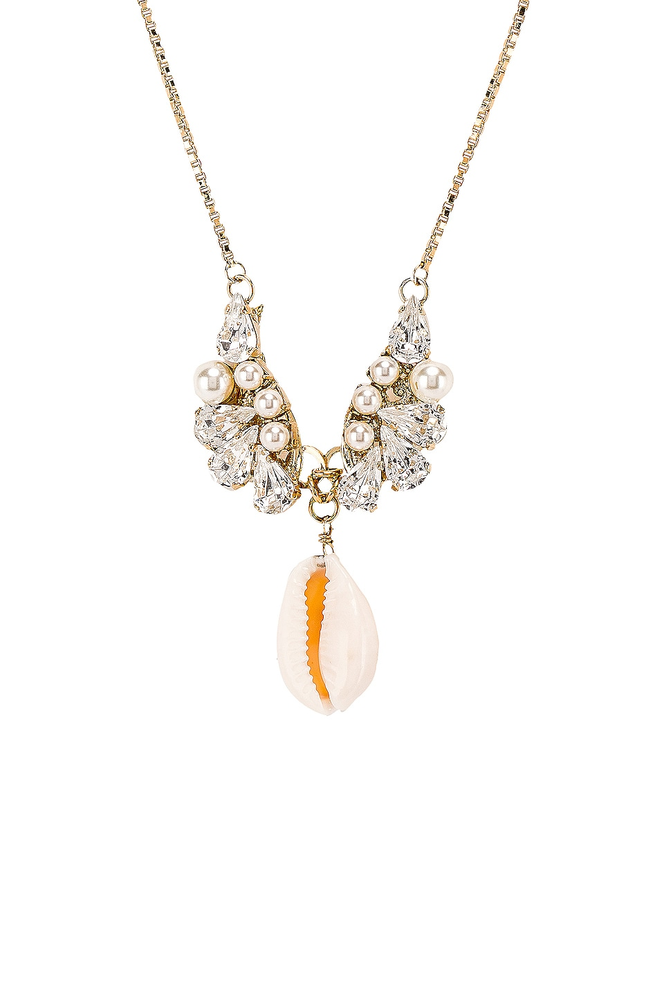 Anton Heunis Crystal Cluster Shell Pendant Necklace in Clear & Cream