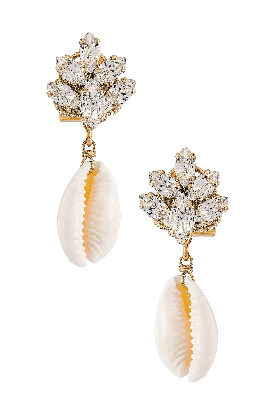 Anton Heunis ANTON HEUNIS CLUSTER SHELL EARRINGS IN METALLIC GOLD.