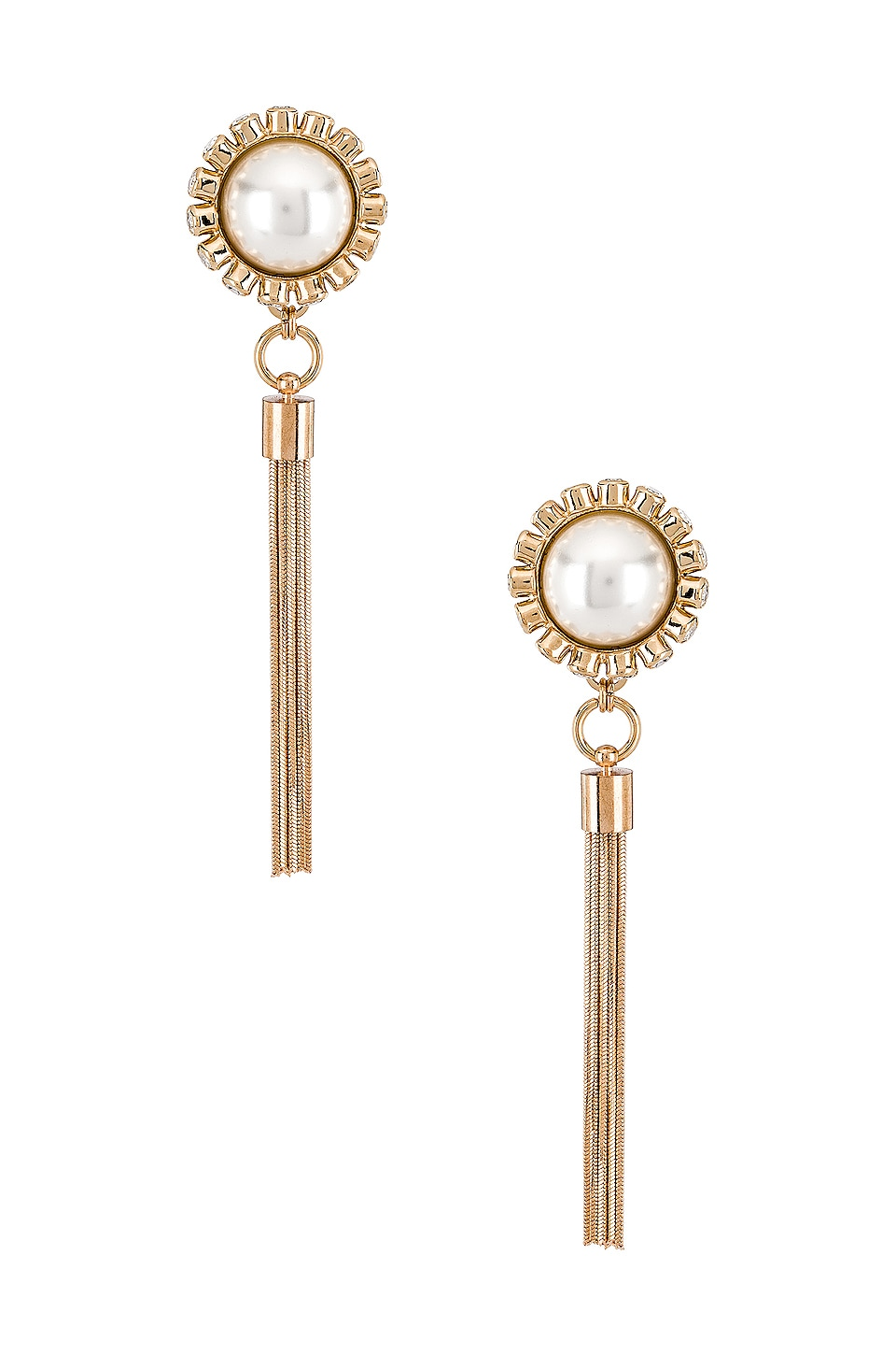 Anton Heunis Sphere Tassel Earrings in Cream Pearls