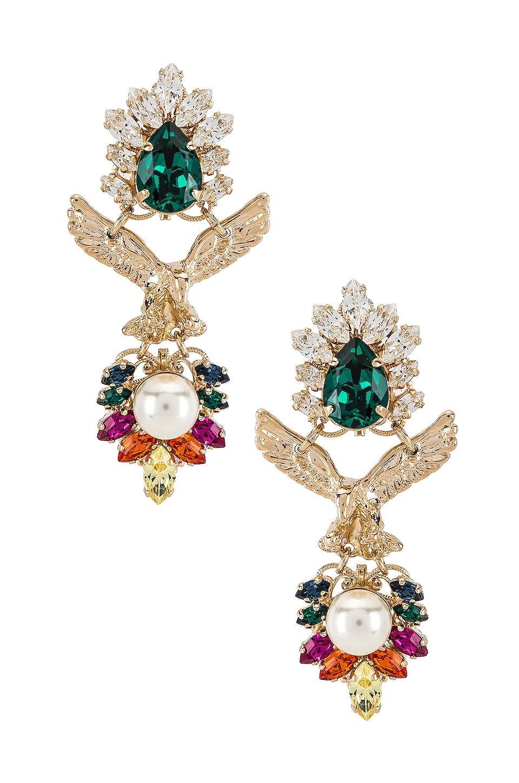 Anton Heunis Crystal Cluster Eagle Pendant Earring in Rainbow & Gold