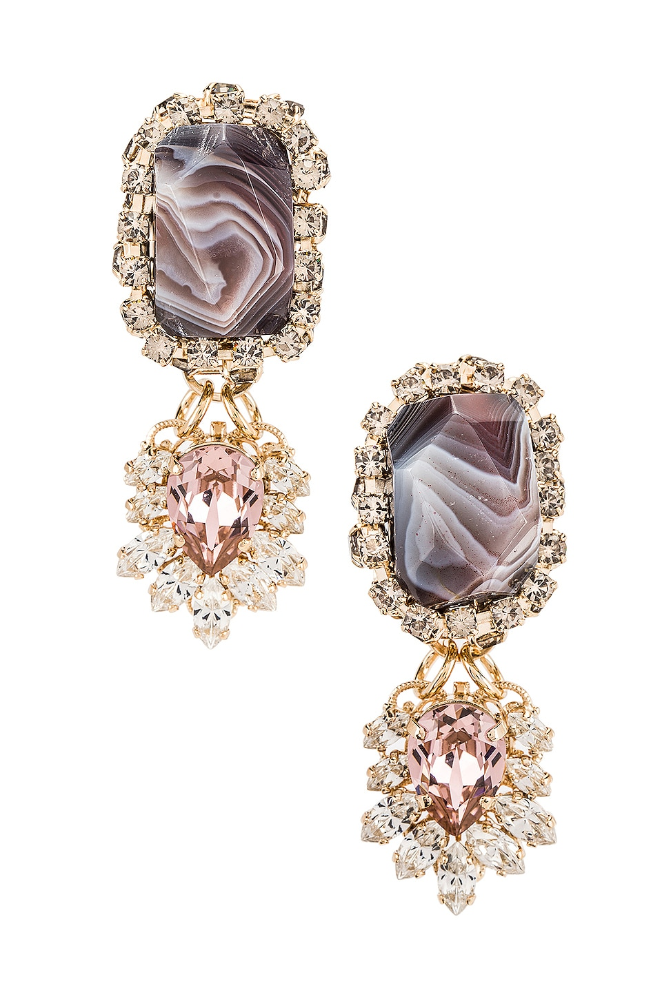 Anton Heunis Agate Strass Fringe Pendant Earring in Pink, Grey & Gold