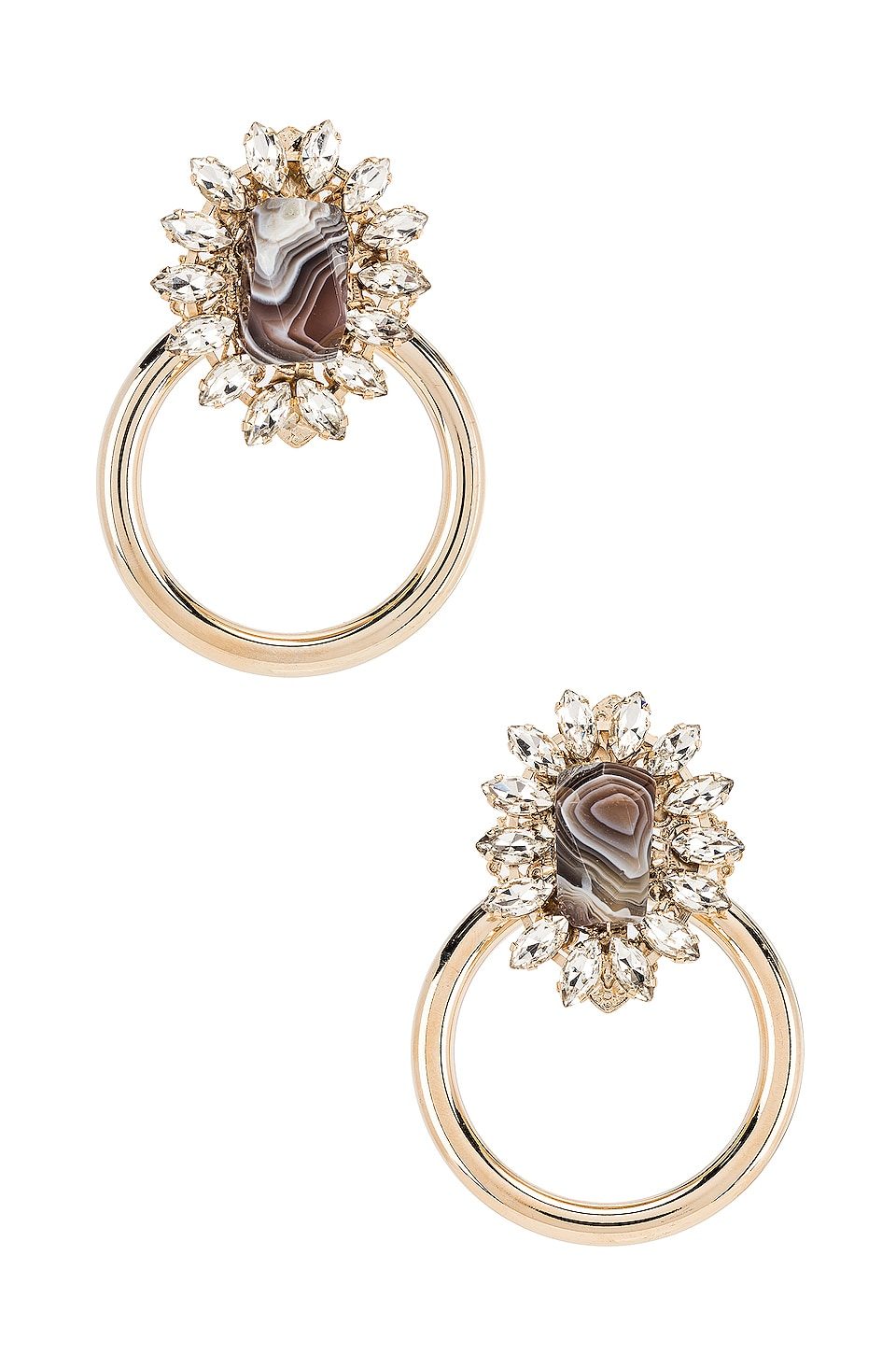 Anton Heunis Big Ring Earring in Grey & Gold